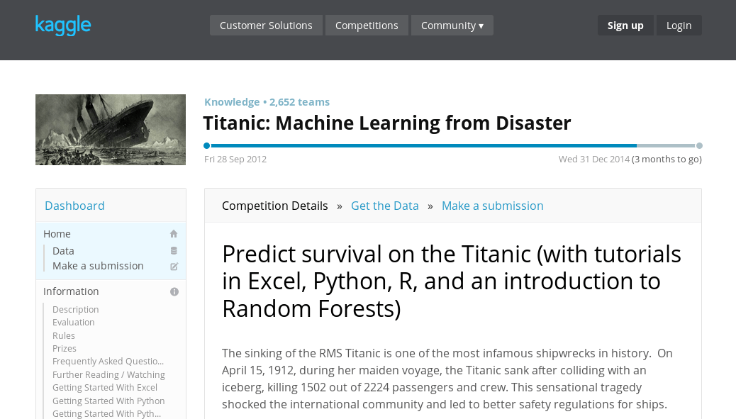 Kaggle competitions: Titanic: Machine Learning from Disaster