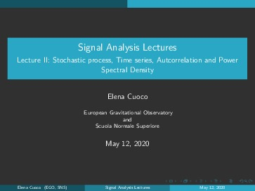 Lecture II: Stochastic process